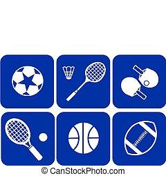 summer sport icons set on blue back