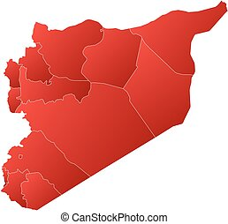 Map - Syria - Map of Syria with the provinces, filled with a...