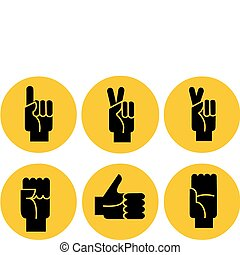set of black hands icons on a yellow background