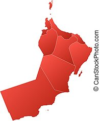 Map - Oman - Map of Oman with the provinces, filled with a...