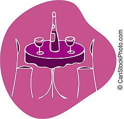 table with wine and two chairs at pink background -1