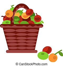 brown cartoon basket with fruits on a white background