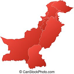 Map - Pakistan - Map of Pakistan with the provinces, filled...