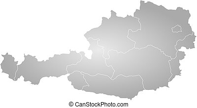Map - Austria - Map of Austria, filled with a radial...