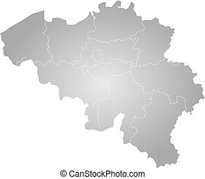 Map - Belgium - Map of Belgium, filled with a radial...