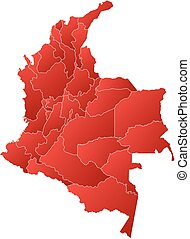 Map - Colombia - Map of Colombia with the provinces, filled...