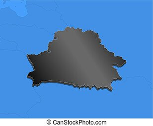 Map - Belarus - 3D-Illustration - Map of Belarus and nearby...