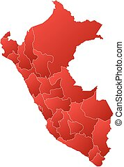 Map - Peru - Map of Peru with the provinces, filled with a...