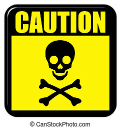 Caution Death - Caution death sign isolated in white