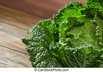 Savoy cabbage super food close up. Top view - Raw savoy...