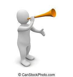 homem, trompete, 3D, representado, Ilustração