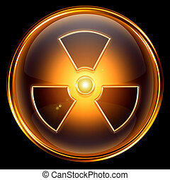 Radioactive icon golden, isolated on black background