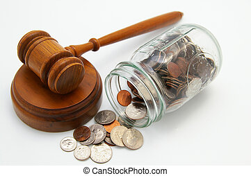 legal court gavel and money from a coin jar