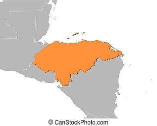 Map - Honduras - Map of Honduras and nearby countries,...
