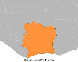 Map - Ivory Coast - Map of Ivory Coast and nearby countries,...
