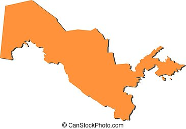 Map - Uzbekistan - Map of Uzbekistan, filled in orange.