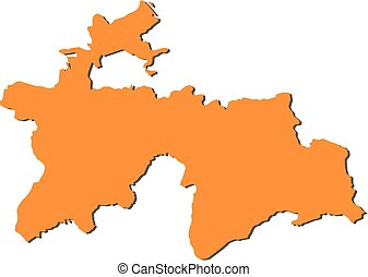 Map - Tajikistan - Map of Tajikistan, filled in orange