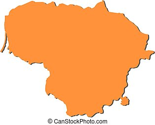Map - Lithuania - Map of Lithuania, filled in orange.