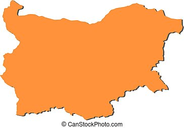Map - Bulgaria - Map of Bulgaria, filled in orange.