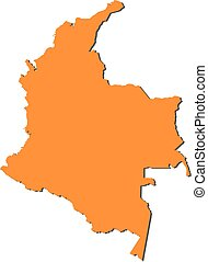 Map - Colombia - Map of Colombia, filled in orange