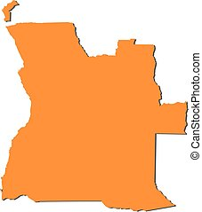 Map - Angola - Map of Angola, filled in orange.