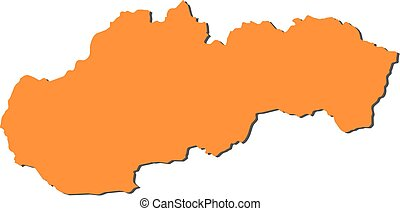 Map - Slovakia - Map of Slovakia, filled in orange.
