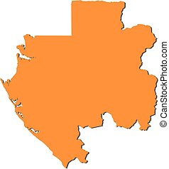 Map - Gabon - Map of Gabon, filled in orange.