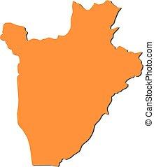 Map - Burundi - Map of Burundi, filled in orange