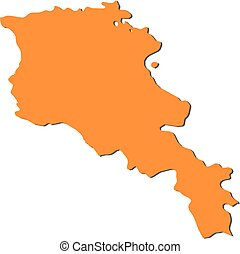 Map - Armenia - Map of Armenia, filled in orange.