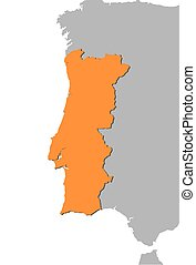 Map - Portugal - Map of Portugal and nearby countries,...