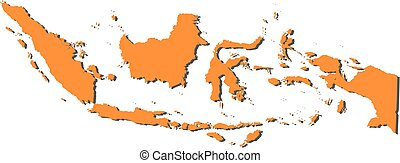 Map - Indonesia - Map of Indonesia, filled in orange