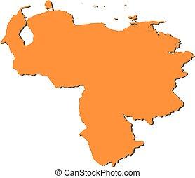 Map - Venezuela - Map of Venezuela, filled in orange.