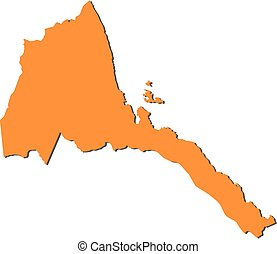 Map - Eritrea - Map of Eritrea, filled in orange.