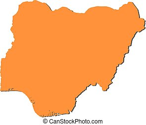 Map - Nigeria - Map of Nigeria, filled in orange
