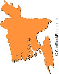 Map - Bangladesh - Map of Bangladesh, filled in orange.