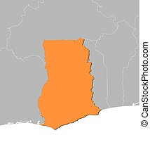 Map - Ghana - Map of Ghana and nearby countries, Ghana is...