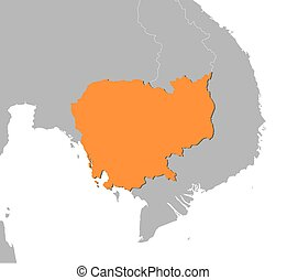 Map - Cambodia - Map of Cambodia and nearby countries,...