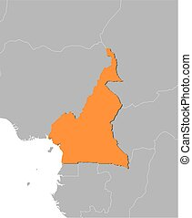 Map - Cameroon - Map of Cameroon and nearby countries,...