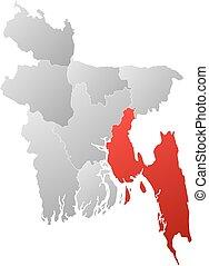 Map - Bangladesh, Chittagong - Map of Bangladesh with the...