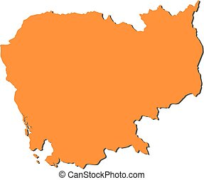 Map - Cambodia - Map of Cambodia, filled in orange.