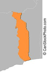 Map - Togo - Map of Togo and nearby countries, Togo is...