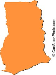 Map - Ghana - Map of Ghana, filled in orange