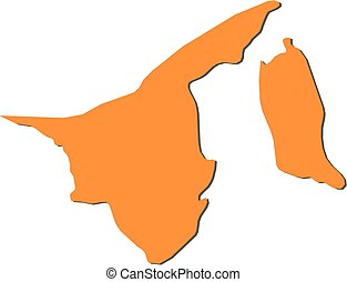Map - Brunei - Map of Brunei, filled in orange.