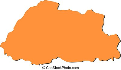 Map - Bhutan - Map of Bhutan, filled in orange