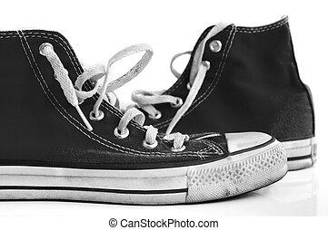 retro sneakers on white