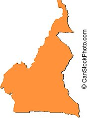 Map - Cameroon - Map of Cameroon, filled in orange.