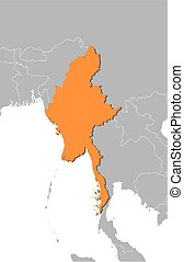 Map - Myanmar - Map of Myanmar and nearby countries, Myanmar...