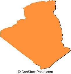 Map - Algeria - Map of Algeria, filled in orange