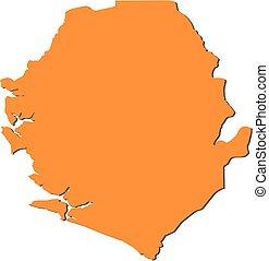 Map - Sierra Leone - Map of Sierra Leone, filled in orange
