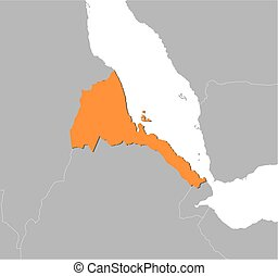 Map - Eritrea - Map of Eritrea and nearby countries, Eritrea...